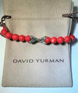 David Yurman  Men`s Spiritual Bead Red Coral Bracelet