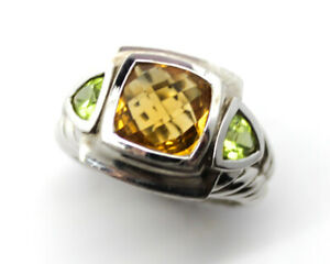 Judith Ripka Sterling Silver Citrine & Peridot Ring, Size 8.5, Wgt 11g