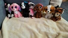TY Beanie Boos Plush Lot of 7 - Dogs, Cats, Raccon, tigget