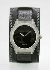 Fossil Watch Mens Big Tic White Plastic Wide Black Leather 50m Battery  Quartz
