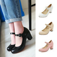 WOMENS ROUND TOE MID BLOCK HEEL MARY JANE OFFICE WORK FORMAL STRAP DOLLY SHOES