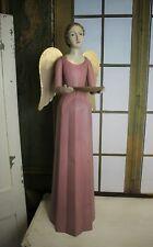 Schöner Vintage Shabby Meander Engel Kerzenhalter Handarbeit Rosa 75 cm NEU