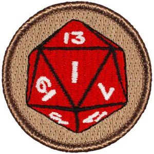 """Icosahedron (D20) Patrol Patch - 2"""" Round Embroidered Patch (087)"""
