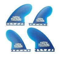 PACIFIC VIBRATIONS Compressor quad Futures SURFBOARD FIN SET NEW 4 FINS Blue