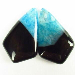 2Pcs 32x20x6mm Black Blue Onyx Druzy Geode Agate Shield Pendant Bead H76816