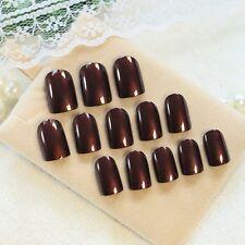 Shimmer Short Press On Nails Glitter Pattern Brown Red Darken Nail Art Tips Z382