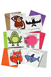 Lucky Dip! PACK OF 6  Mixed Birthday Cards. Coloured envelopes