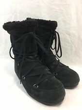 Tecnica Moon Boots Fashion Winter BLACK Suede Womens Size 6.5 Pull-On Laces EUC