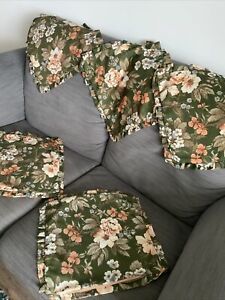 Vintage Cushion Covers X 5 Green Floral Nylon Frilled Retro 1970s Cottage Core