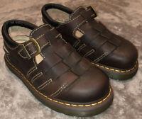Dr Martens DS Brown Leather Strap Sandal Closed Toe Shoes Sz Men's 10 Air Wair