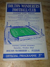 Bolton v Fulham Div 1 October 22nd 1960