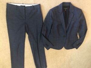 Ann Taylor Blue Cross Hatch Pant Suit Size 4P