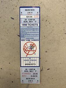 5/18/1998 DAVID WELLS PERFECT GAME FULL SEASON TICKET RARE NEW YORK YANKEES 98