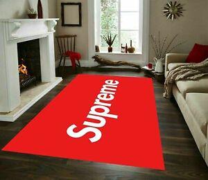 Supreme Red And White Rug, Fan Carpet, Non Slip Floor Carpet,Teen's Rug,Room rug