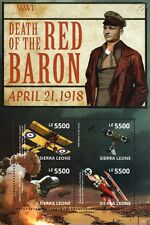 Manfred von Richthofen (The RED BARON) Fokker Dr.I WWI Aircraft 4v Stamp Sheet