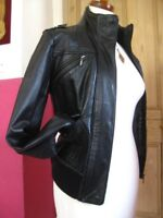 Ladies NEXT black genuine leather JACKET COAT size UK 16 14 biker bomber aviator
