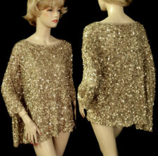 $1995 NWT ST JOHN COUTURE GOLD TOP  SZ M  ALL-OVER SEQUINS, ASYMMETRICAL DESIGN