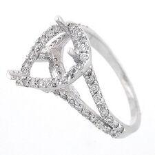 14k White Gold Semi Mount Split Shank Pear Halo Diamond Ring Setting 0.85 Cts