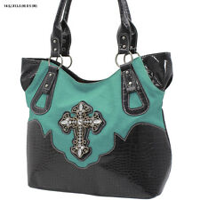 6604 GREEN/TURQ CROSS RHINESTONE WESTERN  PURSE COWGIRL HANDBAG~~~~~~