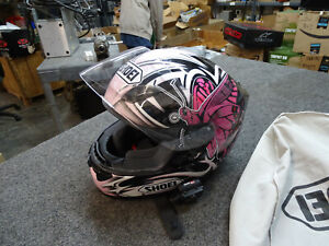 Shoei Lady Pink / Black / White Motorcycle Helmet XS w/ Chatter Box Intercom