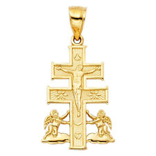 Religious 14k Yellow Gold Cross Jesus Angel Orthdox Crucifix Pendant Charm Doubl