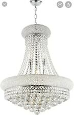 13 Light Chrome Finish 24x31.5 Beirio Pendant Clear Crystal Chandelier Light NIB