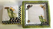 NEW Mackenzie-Childs set Frog Paper Napkins Cocktail- and Plates Salad/Dessert