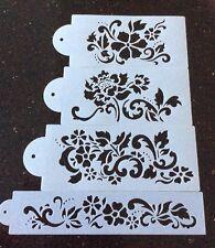 4 Pack Flower Cake Stencil Set For Cake Decorating