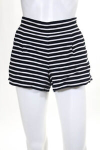 J Crew Navy Blue White Linen Cotton Blend Striped Pleated Front Shorts Size 4