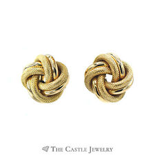 Love Knot Earrings With Mesh And High Polish 14K Yellow Gold