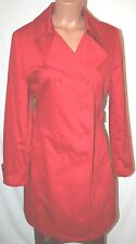 JM COLLECTION BELTED TRENCH COAT LIGHT RAIN JACKET RED COVER UP M