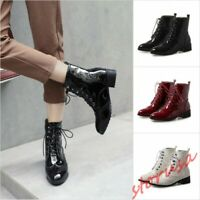 Women Patent Leather Wing Tip Lace Up Ankle Boots Girls Block Heel Riding Shoes