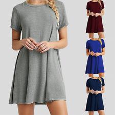 Chic Women Short Sleeve Tunic Casual T-Shirt Swing Short Dress Skirt Petite Tops