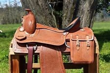 "15"" TOOLED WESTERN LEATHER PLEASURE TRAIL RANCH COWBOY HORSE SADDLE BAGS TACK"