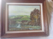 Lush Green Landscape Painting Oil on Canvas.  Framed and Signed.