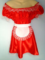 french maid dress+piny cosplay sissy adult baby red satin fetish slave 8-24