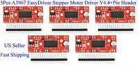 5Pcs A3967 EasyDriver Stepper Motor Driver V4.4+Pin Header For Arduino US New