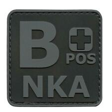 BPos B NKA PVC Rubber Blackout ACU Blood Type Morale Tactical Fastener Patch