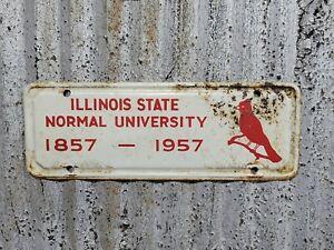 Vtg 1957 Illinois State Normal University Redbirds Vanity License Plate Booster