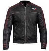 Mens Biker N7 Street Fighter Commander Moto Black Gaming Biker Leather Jacket