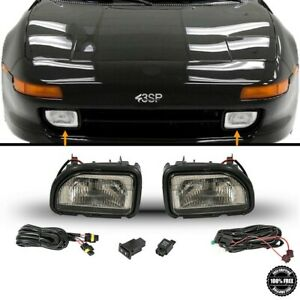 Fits For 1991 1995 Toyota MR2 Front Fog Lights Smoke Lens Pair LH RH Set w/Bulbs