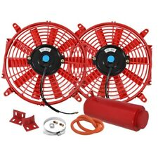 "2X 10"" Slim/Thin 12V Push/Pull Electric Radiator/Cooling Fan Red+Coolant Tank"