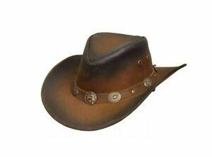 Leather Cowboy Hat Australian Western Aussie Style 2 Tone Brown Side Button Hat