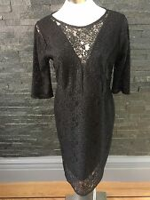 Next Black Stretch Lace Dress Size 16 New With Tags RRP£50