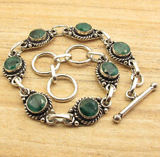 Silver Plated Metal Jewelry Simulated  EMERALD ANTIQYE LOOK LONG Bracelet 8 Inch