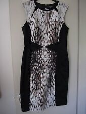 WAREHOUSE - BLURRED PRINT BACK / GREY / WHITE DRESS - SIZE 12 - NEW WITH TAGS