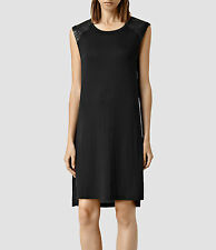 All Saints Spitalfields L Black Jersey Knit Shift Petra Dress Leather Shoulder