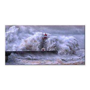 Quadro moderno Stampa su Tela tema natura CANVAS WORLD 52x122 cm SEA STORM