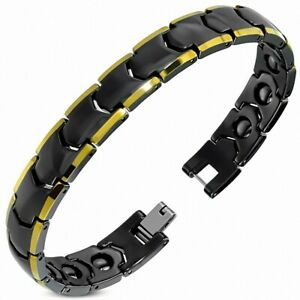 20cm x 11mm Bracelet Magnetic Ceramic Black With Trim Golden Panther