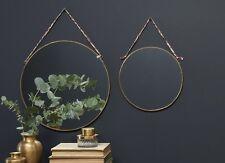 Large Kiko Round Brass Mirror by Nkuku 38cm Hanging Wall Mounted Mirror Sari Tie
